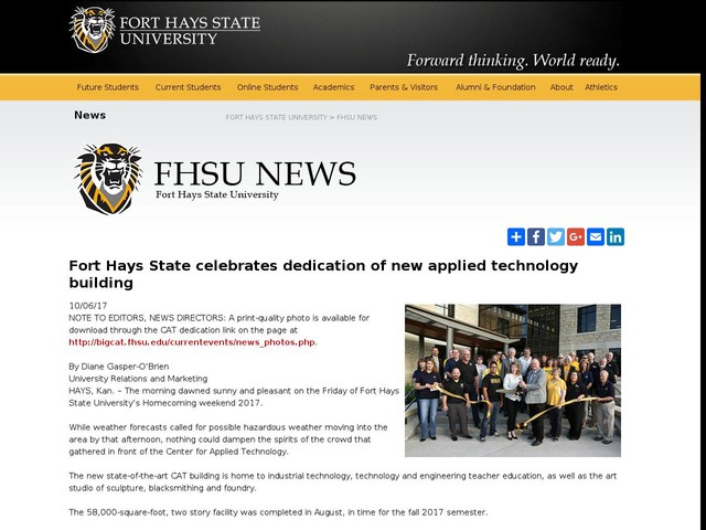 Fort Hays State celebrates dedication of new applied technology building