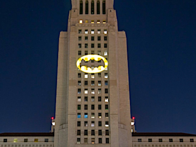 Bat Signal Shines Bright In Los Angeles In Honor Of Adam West