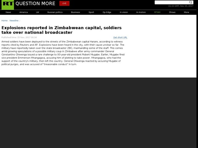 Explosions reported in Zimbabwean capital, soldiers take over national broadcaster