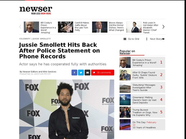 Jussie Smollett Hits Back After Police Statement on Phone Records