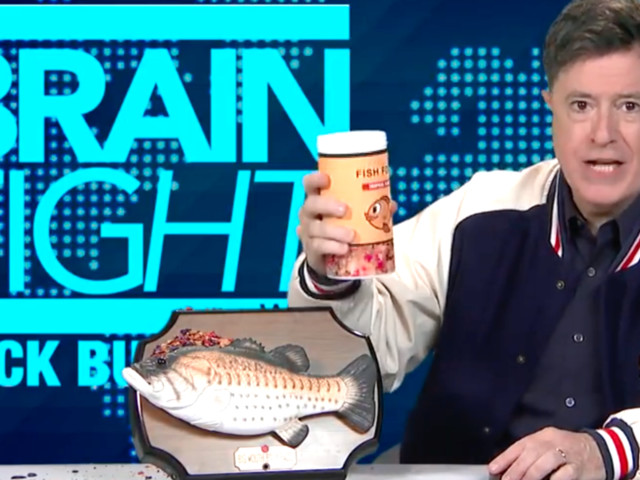 Stephen Colbert Trolls Alex Jones With Big Mouth Billy Bass Grilling
