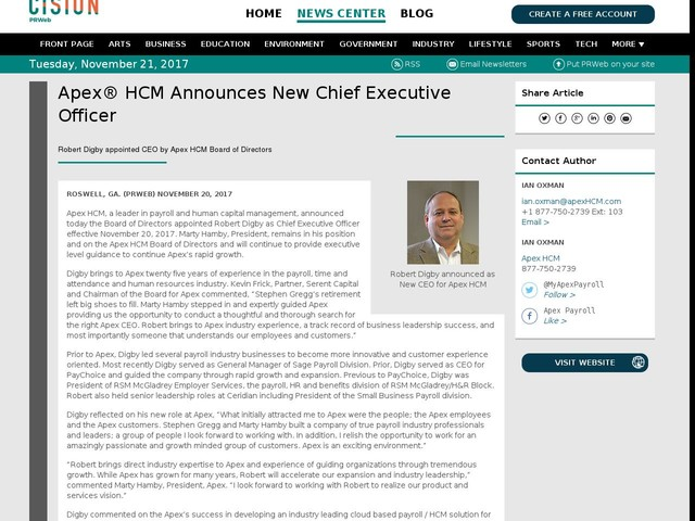 Apex® HCM Announces New Chief Executive Officer