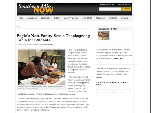 Eagle's Nest Pantry Sets a Thanksgiving Table for Students
