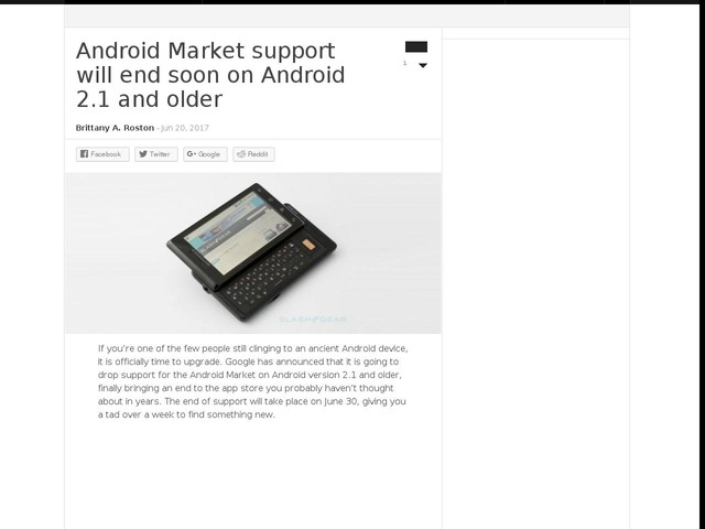 Android Market support will end soon on Android 2.1 and older