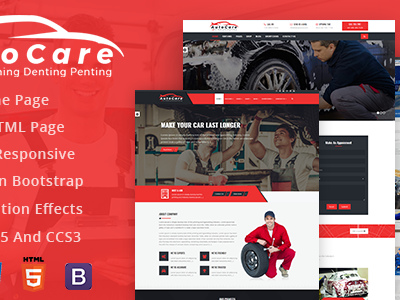 AutoCare: Car Service, Car Washing and Denting and Painting Html Template (Corporate)
