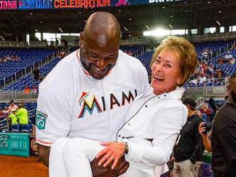 Shaq and Judge Judy goofing off at a Marlins game is the best thing to happen at a Marlins game this year