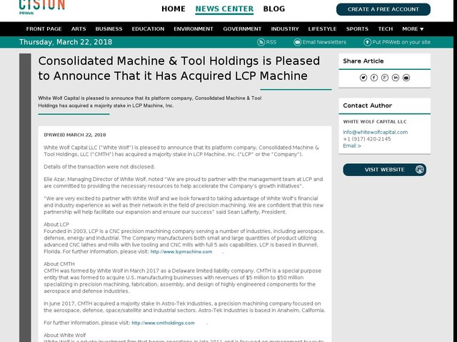 Consolidated Machine & Tool Holdings is Pleased to Announce That...