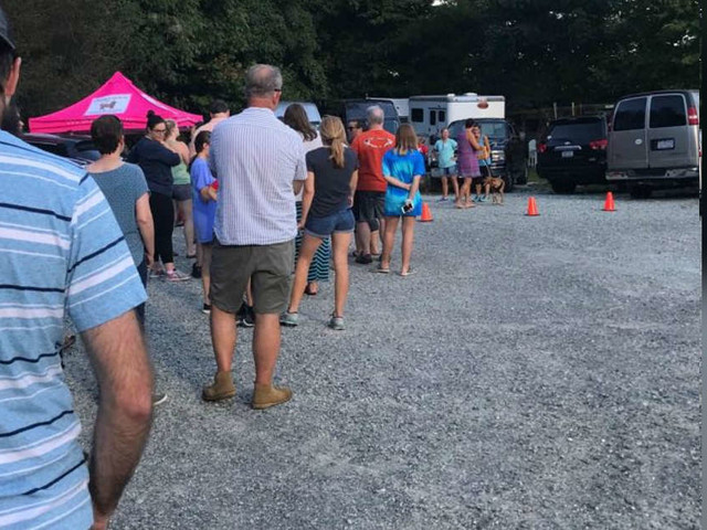 Huge Line Of People Shows Up To Save Dogs Rescued From Hurricane