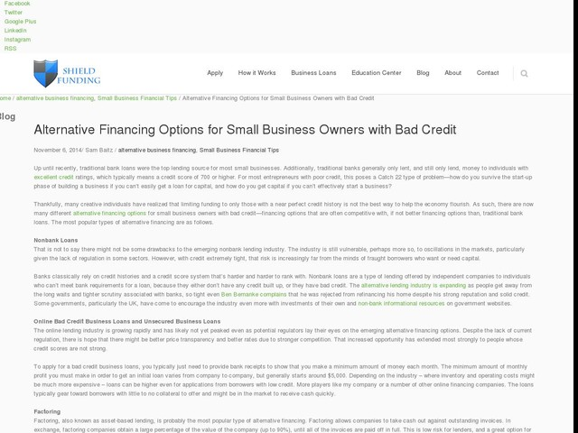 Alternative Financing Options for Small Business Owners with Bad Credit
