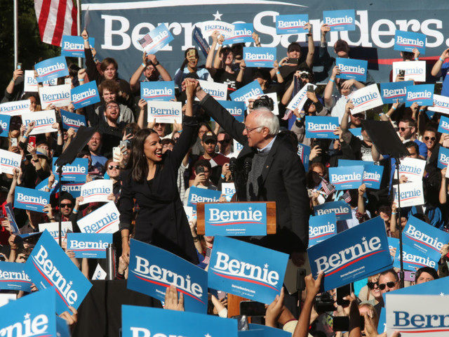 Rep. Alexandria Ocasio-Cortez joins Bernie Sanders in New York City for first rally since heart attack