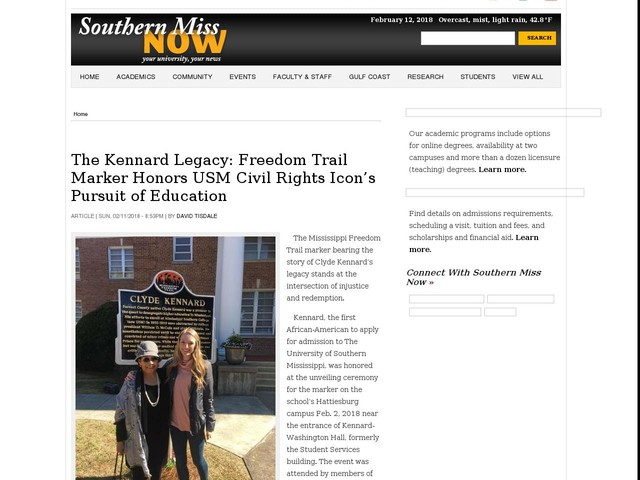The Kennard Legacy: Freedom Trail Marker Honors USM Civil Rights Icon's Pursuit of Education