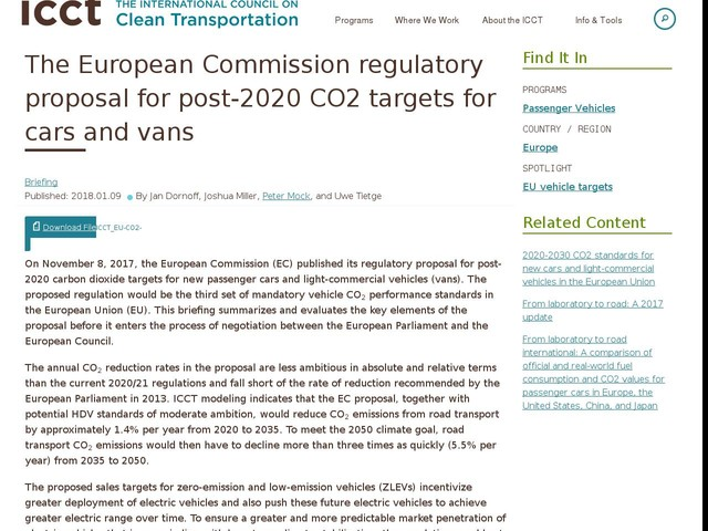 The European Commission regulatory proposal for post-2020 CO2 targets for cars and vans