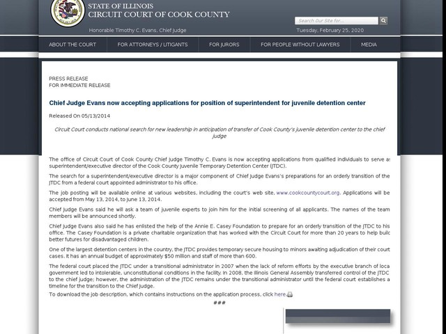 Chief Judge Evans now accepting applications for position of superintendent for juvenile detention center