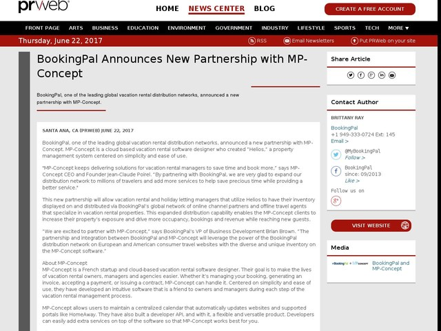 BookingPal Announces New Partnership with MP-Concept