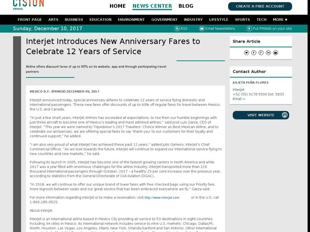 Interjet Introduces New Anniversary Fares to Celebrate 12 Years of...