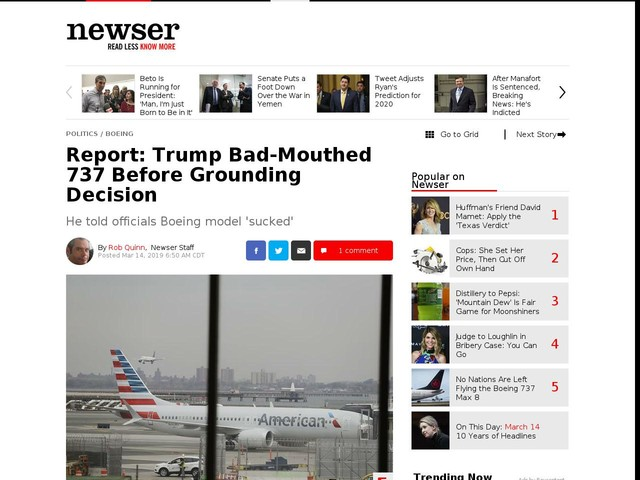 Report: Trump Bad-Mouthed 737 Before Grounding Decision