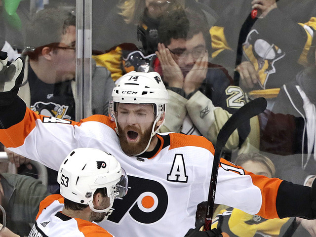 Couturier scores late in OT, Flyers beat Penguins 2-1