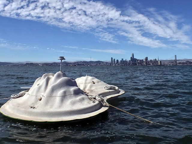 A floating plastic island in the San Francisco Bay may offer a new way to protect coasts from floods. It could even house people inside.