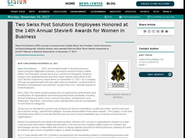 Two Swiss Post Solutions Employees Honored at the 14th Annual...