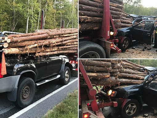 Miraculous escape of driver whose car was impaled by logs after crash