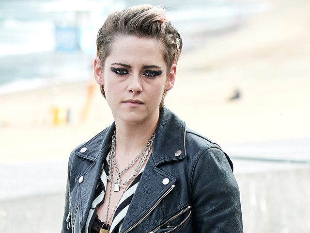 Kristen Stewart Pairs Lacy Bra With Striped Top at 'Seberg' San Sebastian Photo Call