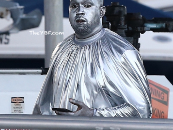 'Christian Genius Billionaire' Kanye West Dons Head-To-Toe Chrome To Debut His 'Mary' Opera In Miami