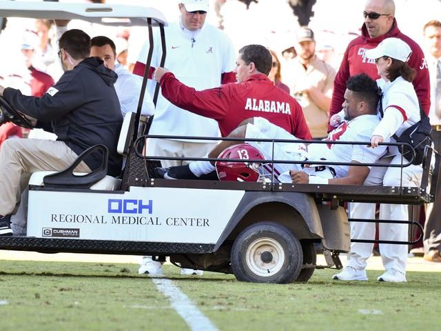 Alabama quarterback Tua Tagovailoa carted off field with hip injury