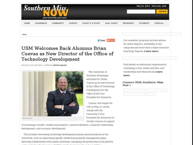 USM Welcomes Back Alumnus Brian Cuevas as New Director of the Office of Technology Development