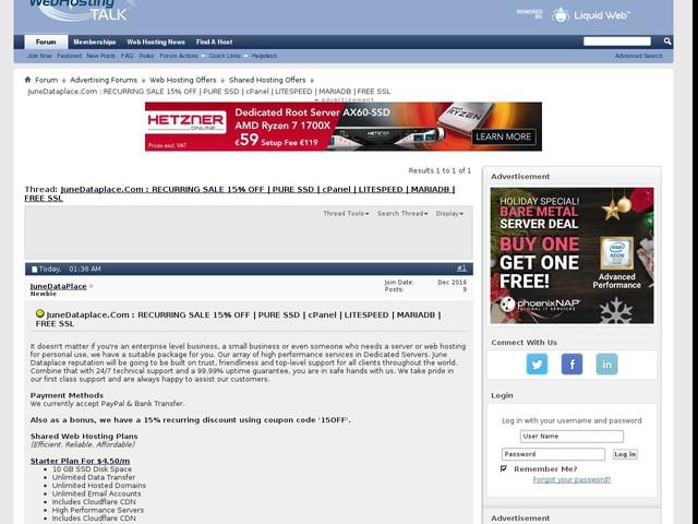 JuneDataplace.Com : RECURRING SALE 15% OFF | PURE SSD | cPanel | LITESPEED | MARIADB | FREE SSL