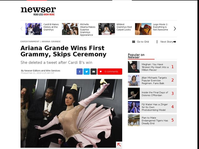 Ariana Grande Wins First Grammy, Skips Ceremony