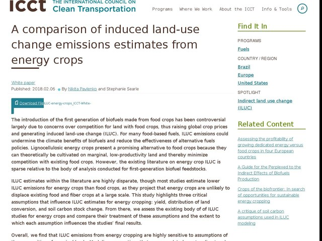 A comparison of induced land-use change emissions estimates from energy crops