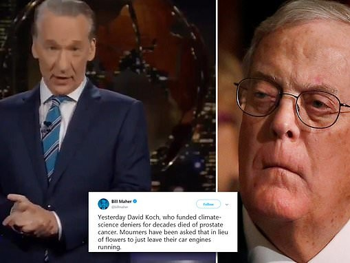 Bill Maher says he hopes David Koch's 'end was painful' while addressing billionaire's death