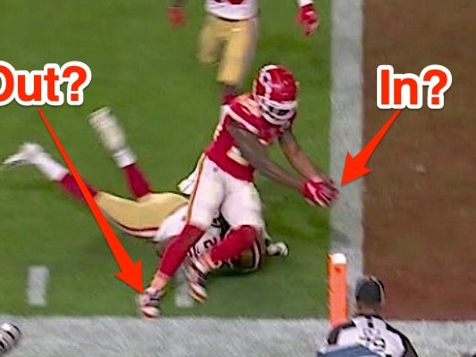 The biggest play of the Super Bowl came down to a narrow review over whether a Chiefs running back stepped out of bounds before breaking the end zone plane