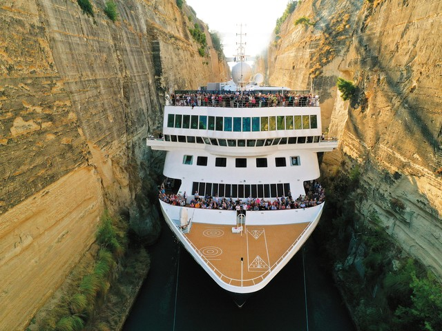 Tight squeeze: Cruise ship passes through Greek Canal with only 5 feet of breathing room