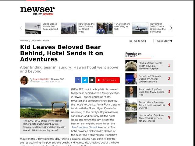Kid Leaves Beloved Bear Behind, Hotel Sends It on Adventures