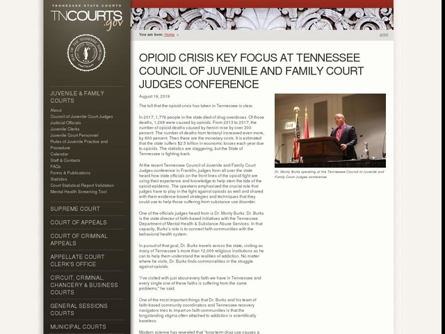 Opioid Crisis Key Focus at Tennessee Council of Juvenile and Family Court Judges Conference