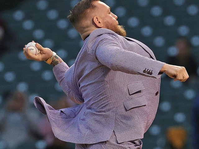 McGregor's singing may have been worse than his first pitch