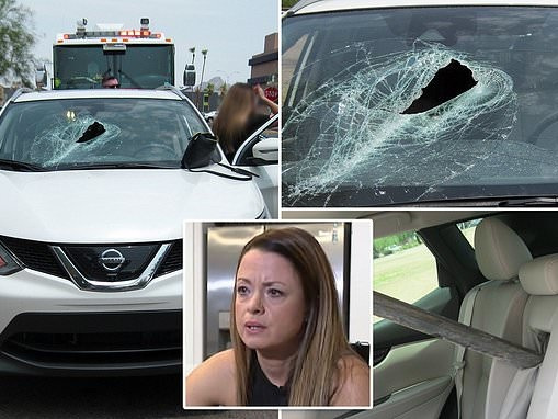 Arizona woman nearly IMPALED by metal pole that fell off truck and crashed through her windshield