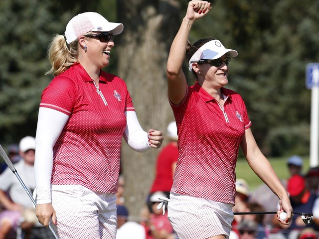 Solheim: Brittany Lang's 80-yard approach, Cristie Kerr's amazing bunker shot fall for eagles