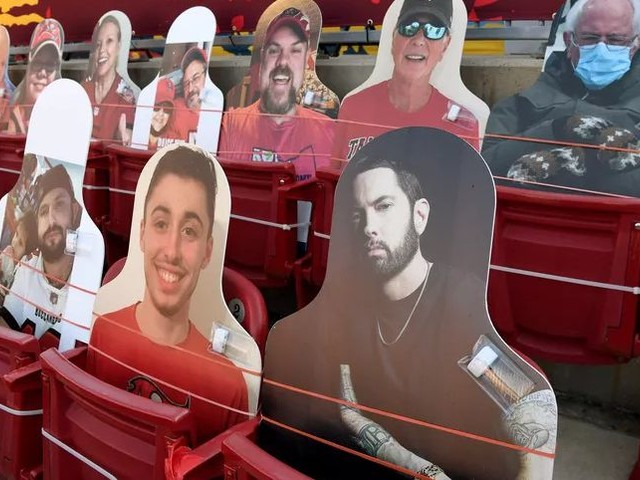 These celebrities attended Super Bowl LV as cardboard fans