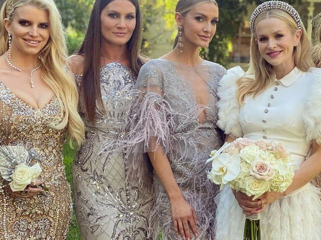 Jessica Simpson and Sister Ashlee Simpson Ross Are the Most Glamorous Bridesmaids at Friend's Wedding