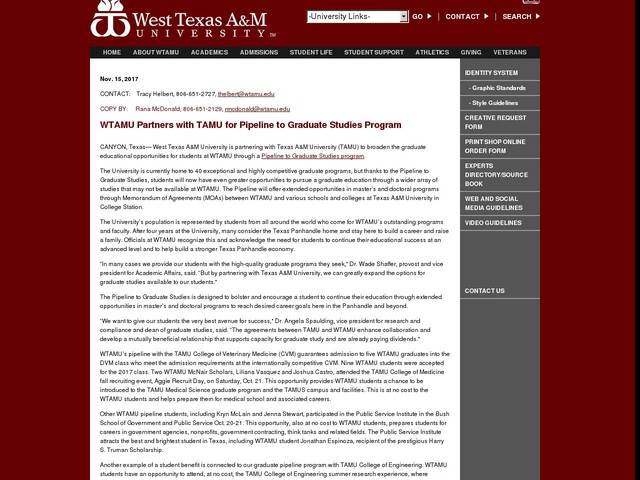 WTAMU Partners with TAMU for Pipeline to Graduate Studies Program