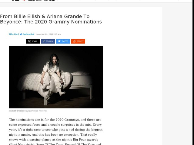 From Billie Eilish & Ariana Grande To Beyoncé: The 2020 Grammy Nominations