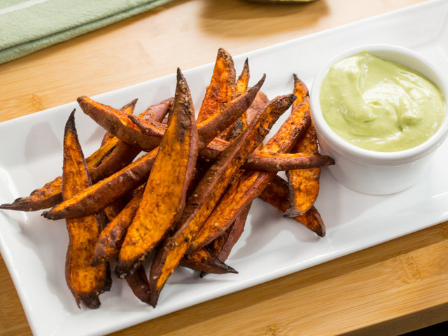 Dip these sweet potato wedges into garlic avocado aioli