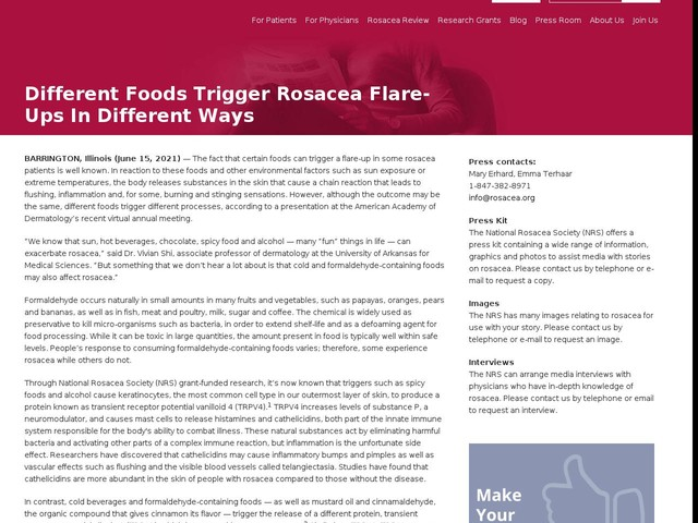 Different Foods Trigger Rosacea Flare-Ups in Different Ways