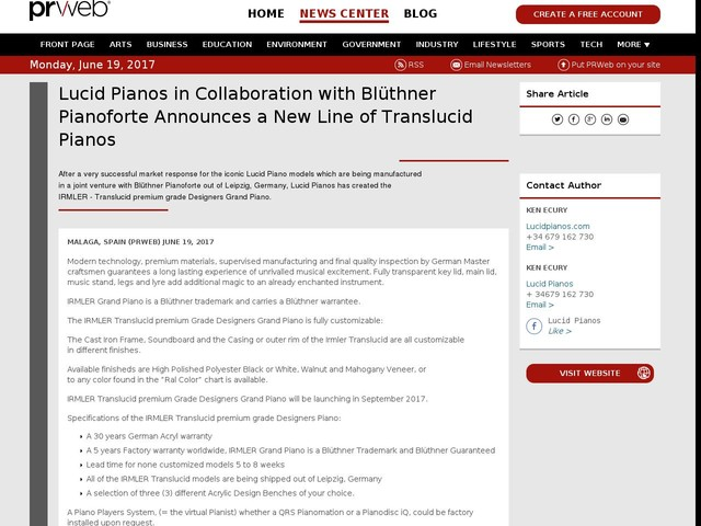 Lucid Pianos in Collaboration with Blüthner Pianoforte Announces...