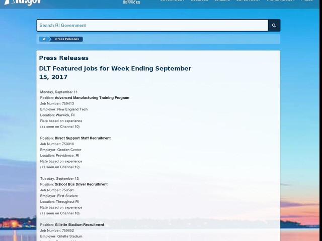 DLT Featured Jobs for Week Ending September 15, 2017