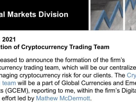 Goldman Announces Formation Of New Crypto Trading Desk
