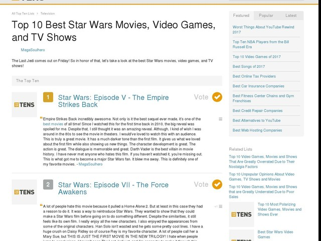 Top 10 Best Star Wars Movies, Video Games, and TV Shows
