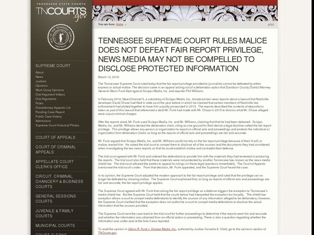 Tennessee Supreme Court Rules Malice Does Not Defeat Fair Report Privilege, News Media May Not Be Compelled to Disclose Protected Information